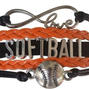 Girls Softball Bracelet - Black & Orange